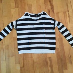 Black and white striped cotton sweater.